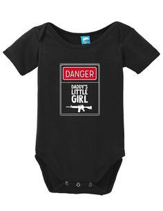 Warning Daddys Little Girl Onesie Funny Bodysuit Baby Romper