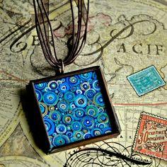 Blue Abstract Necklace - Handpainted - Original Dana Marie Wearable Art