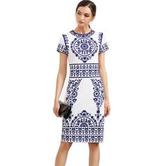 Vintage Blue Print Dress