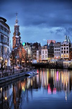Amsterdam lights I love this city! Hope to go back one day.