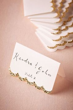 Glitter gold dipped name cards place cards for wedding or party BHLDN