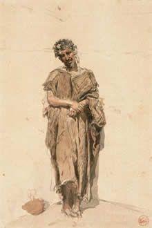 Un marroquí. 1867 - 1899. Mariano Fortuny Marsal. Watercolor on thick paper. 37,9 x 26,2 cm. Museo de Bellas Artes de Cordoba, Spain. Provenance: Artist estate