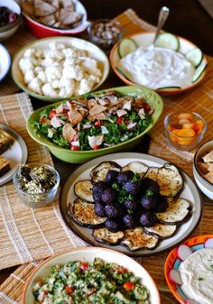 Lebanese Meze - a selection of small dishes served in the Mediterranean, Middle East and Balkans. Groups of dishes arrive at the table about 4 or 5 at a time (usually between 5 & 10 groups). There is a set pattern to the dishes: typically olives, tahini, salad & yogurt will be followed by dishes with vegetables & eggs, then small meat or fish dishes alongside special accompaniments, & finally more substantial dishes such as whole fish or meat stews & grills…