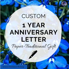 One Year Anniversary Paper Gift -- Custom Letter -- the traditional gift for the first wedding anniversary is paper. Knock it out of the park with this custom written letter for your spouse. Written by a professional writer and certified wedding planner. Anniversary Letter, First Wedding Anniversary, One Year Anniversary, Matron Of Honor Speech, Funny Speeches, 750 Words, Special Letters, Best Man Speech, Custom Writing