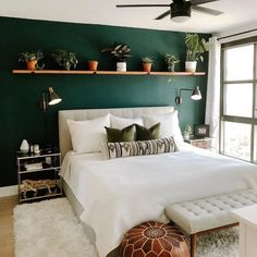 Lito Almond Cream Queen headboard 22 Inspiring design and decoration ideas for small bedrooms modern and simple bedroom design ideas 732 beautiful bedroom decor ideas for c. Green Bedroom Walls, Room Ideas Bedroom, Bedroom Designs, Home Bedroom, Green Master Bedroom, Ikea Bedroom, Green And White Bedroom, Dark Green Walls, Accent Wall Bedroom