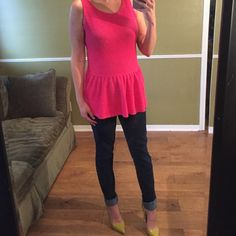 Hot pink peplum top Peplum top perfect for a night out w/ statement heels. 100% cotton. Fits good around the waist & ive gone down two sizes since I purchased (no parachute happening) Small gold zipper in the back. Joe Fresh Tops Blouses