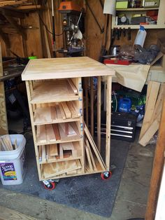 A needed a lumber cart on wheels and the plans in ShopNotes issue 45 fit the bill. Leaning towards using it for small assembly. Lumber Storage Rack, Lumber Rack, Garage Tool Storage, Diy Garage, Garage Shop, Learn Woodworking, Easy Woodworking Projects, Custom Woodworking, Woodworking Bench