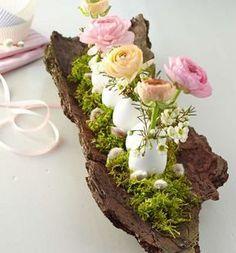 Natur-Dekoration für den Tisch an Ostern.