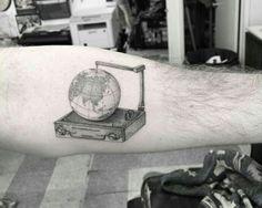 By Dr. Woo   South Korea   #Dotwork #Tattoo #DotworkTattoo #Globe #Blackwork #BlackworkTattoo