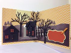 Donna Wright using the Pop it Ups House Pivot Card, Holiday House, All Seasons Tree, Outdoor Edges and Katie Label dies by Karen Burniston for Elizabeth Craft Designs. - Old Red Shed: karen burniston spooky september design team challenge...
