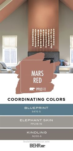 Perfect Looking for easy ways to add a pop of red to the interior design of your home? Start with Mars Red from the Behr 2019 Color Trends collection. This A-frame style living room uses a neut .. Living Room Red, Living Room Paint, Living Room Colors, House Color Schemes, House Colors, Colour Schemes, Behr Colors, Light Gray Paint, Neutral