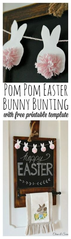 Adorable Easter bunny bunting with free template. Love those baker\'s twine pom pom tails! // cleanandscentsibl...