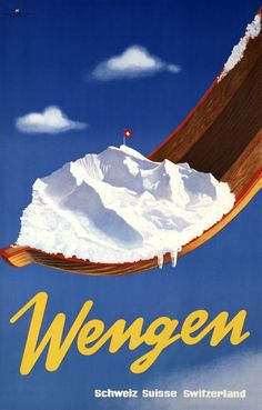 1944 Skiing in Wengen and the Jungfrau in the Highlands of the canton of Bern in Switzerland vintage travel sport poster