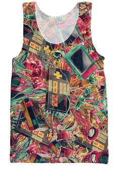 Check out this Retro Gamer Tank Top from Let's Rage! This artistic all-over print video game design is available now, only on Rage On! Graphic Tank Tops, Printed Tank Tops, Best Tank Tops, Summer Tank Tops, Gamers, Retro Gamer, Rave Outfits, Super Mario Bros, Tank Top Shirt