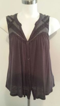 18.99$  Watch now - http://vislb.justgood.pw/vig/item.php?t=zx4n0e13544 - ecote Gray Top Size Medium Sleeveless Button Front Anthropology
