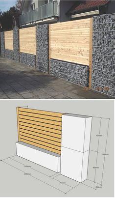 Gabion wood fence combination # walled garden fence with wood deta …, … - Zaun Ideen Fence Wall Design, Modern Fence Design, Privacy Fence Designs, Gate Design, House Design, Gabion Fence, Timber Fencing, Gabion Wall, Diy Fence