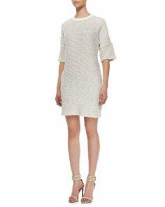 T7KT0 10 Crosby Derek Lam Leather-Trim Knit Dress