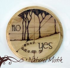 An open meadow and the start of a fairy ring - magic is close at hand! This is a yes/no pendulum board. The design was drawn freehand and woodburned onto the pine board. It was finished with two coats of water-based varnish. Pendulum Board, Fairy Ring, Pine Boards, Wood Burning, Witch, Crafting, Magic, Coats, Etsy