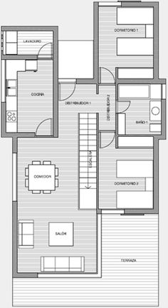 1000 images about planos apt on pinterest one bedroom for Planos de casas de dos recamaras