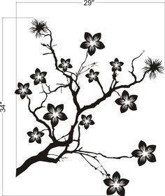 Wall Decal Tree Asian Cherry Blossoms Branches Flowers Blooms Botanical. $55.00, via Etsy.