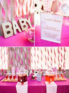 """Nice use of streamers- cheap ad easy to do! The """"mocktails"""" idea is perfect! What a cute beverage display!"""