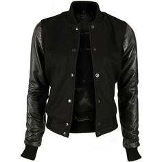 VIPARO Black Varsity Jacket With Lambskin Leather Sleeves - Acanthia ($98) ❤ liked on Polyvore featuring outerwear, jackets, tops, coats, black, sleeve jacket, lambskin jacket, letterman jackets, lamb leather jacket and college jacket