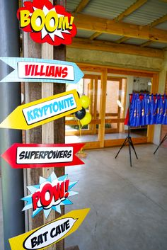 Even superheros need to know where to go at a party! Superhero Party Directional Signage - create excitement at the door!