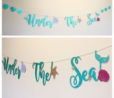 Under The Sea Banner, Little Mermaid Ariel, Mermaid Letters, Happy Birthday Party Decor, gold starfish, Sea Shells by DesignBarrel on Etsy https://www.etsy.com/listing/474820341/under-the-sea-banner-little-mermaid