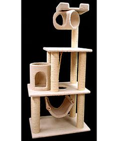 Bungalow Tree covered in elegant faux sheepskinCat condo features sisal rope-wrapped posts to withstand the toughest clawsBeautiful pet gift playground features multiple levels, hammock, cubby holes, dangling rope and look-out perch