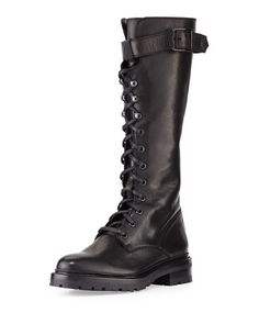Shop Julie Lace-Up Knee Boot, Black from Frye at Neiman Marcus Last Call, where you'll save as much as on designer fashions. Tall Lace Up Boots, Lace Up Combat Boots, Knee High Boots, Black Boots, Boots 2016, Over The Knee Boot Outfit, Black Knees, Frye Boots, Lambskin Leather