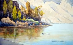 Part 2 in the study of reflections in water. This is a nice challenge in painting reflections, in watercolour, of trees and shrubs in the calm water of this cove on Lake Wakatipu.  The challenge is also to show it as early in the morning.