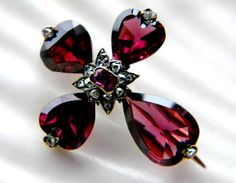 Georgian 14k gold flat topped heart shaped garnet and rose cut diamond cross pin brooch - vintage antique jewelry