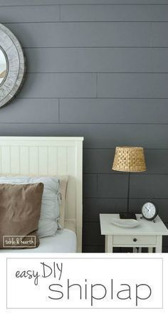 Grey painted shiplap accent wall in master bedroom. Installing your own shiplap can be super easy! This is a great tutorial by Table & Hearth for how to install a shiplap planked wall using simple plywood underlayment. Diy Wand, Kitchen Decorating, Plank Walls, Plank Wall Bedroom, Wood Walls, Wall Wood, Ship Lap Walls, Reno, Diy Home Improvement