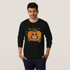 Pumpkin Big Smile Emoji Thanksgiving Halloween T-Shirt - Halloween happyhalloween festival party holiday