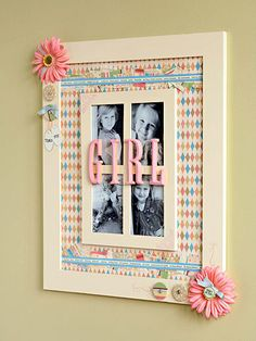Make a BIG frame  Take your picture frames up a notch by adhering a couple of them to a mat board or foam-core board covered in patterned paper. Treat your creation just like a really big scrapbook page and embellish it with large flowers, brads, and bits of fabric and paper. Finish it with wood letters painted to match your scheme.