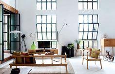 high ceiling, giant windows