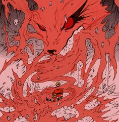 Naruto being consumed by the nine tails hatred and power