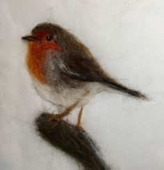 Needle felted robin picture by Julie Higgins Robin Pictures, Felt Pictures, Needle Felted Animals, Felt Animals, Wet Felting, Needle Felting, Felted Soap Tutorial, Bird Applique, Wool Art
