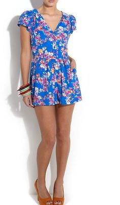6ee36f0a424 Sexy Blue Floral Playsuit Dress from New Look Size 16 as seen on kelly brook