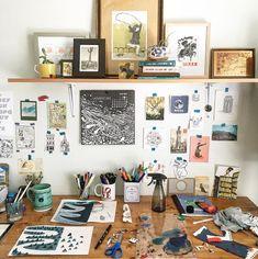 workspace, creative spaces, art, framed, illustrator