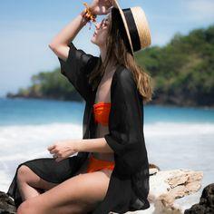 >> Click to Buy << Black Green White Blusas Half Sleeve Solid Loose Holiday Beach Shirts Women Casual Kimono Cardigans Summer Long Tops Beachwear #Affiliate