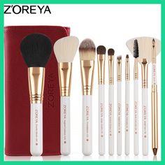 ZOREYA 10pcs Makeup Brushes Professional Set Foundation Eyeshadow Eyeliner Lip Make Up Brush Tools Cosmetic Kit Maquillaje