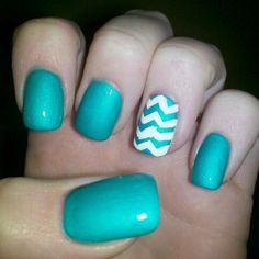 Emerald green with white chevron nails