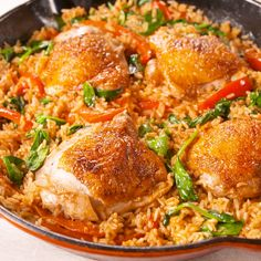 Paprika Chicken & Rice Weeknight dinner all-star. Chicken Rice Recipes, Tasty Chicken Videos, Chicken With Rice, Chicken Thigh And Rice Recipe, Chicken Ideas, Recipe Chicken, Baked Chicken, Good Food, Yummy Food