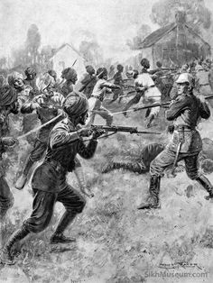 Sikh Soldiers in World War I, Title: East and West Meet in Mortal Combat, Indian Troops Carrying a German Position Artist: Ernest Prater c.1914, The Graphic, Dec. 12, 1914 issue.