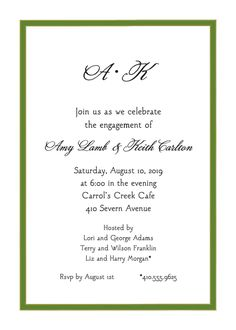Green Border Invitation designed by Sweet Pea Designs Invitation Design, Invite, Engagement Party Invitations, Rsvp, Engagement Invitations