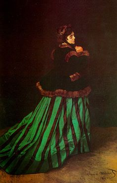 모네, <녹색 드레스의 여인, 카미유> , 1866 ---  살롱전에서 큰 호평을 받은 이 작품은 모네가 사랑했던 여인인 카미유의 모습을 그린 것으로, 사랑의 감정이 들어가있어서 그런지 보는 사람들에게도 그림 속 여인이 사랑스럽게 느껴진다. 개인적으로는 카미유가 입고 있는 드레스가 이 그림의 분위기를 살리는 가장 큰 요소라고 생각되는데, 이는 사랑스러운 느낌의 초록색 줄무늬로부터 오는 것이라고 생각한다.
