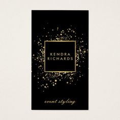 Scattered Faux Gold Confetti on Modern Black Business Card. Festive faux metallic gold confetti dots appear scattered from behind a black and faux gold nameplate containing your name or business name on this modern business card template. >>Visit link to see if you can save with coupon codes or promotions!<<
