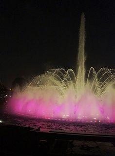 Beautiful pink fountain in Lima, Peru