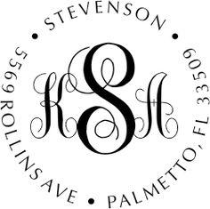 Fancy Monogram Address Stamp - Self-Inking